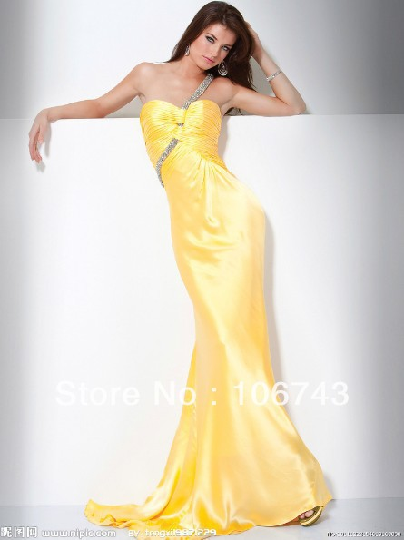 Free Shipping 2014 New Design Vestidos Formal One Shoulder Sexy Backless Elegant Beaded Yellow Long Girl Prom Gown Party Dress