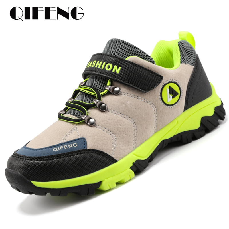 Kid Sneakers Boys Hiking Shoes Breathable Anti-skid Children Summer Outdoor Footwear Waterproof Leather Warm Sports Shoes Spring