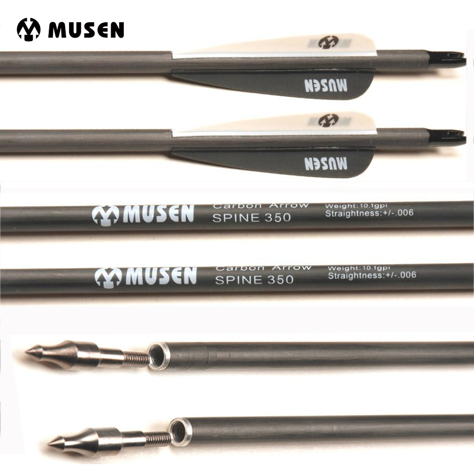 30 Inches Spine 350 Pure Carbon Arrow Diameter 7.6mm 6/12/24pcs For Recurve/Compound Bow Archery Shooting Hunting