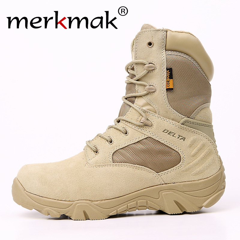 Merkmak Winter Autumn Men Military Boots Special Force Tactical Desert Combat Ankle Boats Army Work Shoes Leather Snow Boots