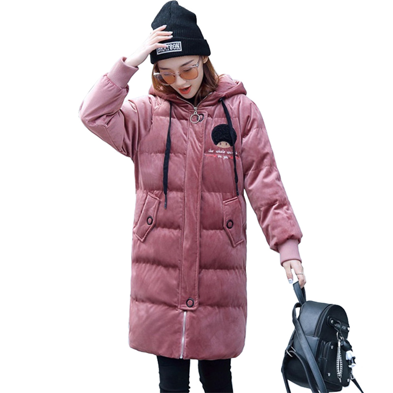 2019 Gold Velvet Winter Parka Women Thicken Warm Cotton Jacket Hooded Coat Plus Size Female Embroidery Cotton-padded Jacket