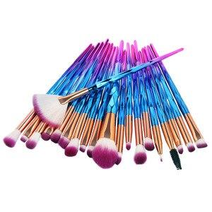 Image 4 - 20Pcs יהלומי איפור מברשות סט אבקת קרן סומק מיזוג צלליות שפתיים קוסמטי יופי איפור מברשת Pincel Maquiagem