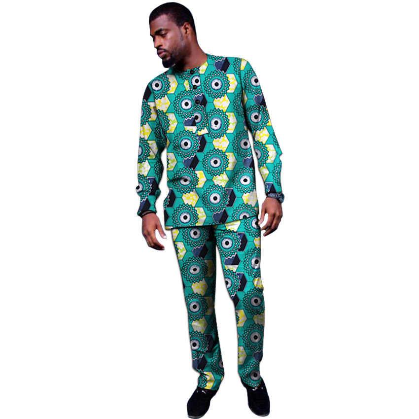 Ropa Africana tops personalizados + Pantalones conjuntos de Ankara trajes para hombres camisa de manga larga y pantalón ropa de boda