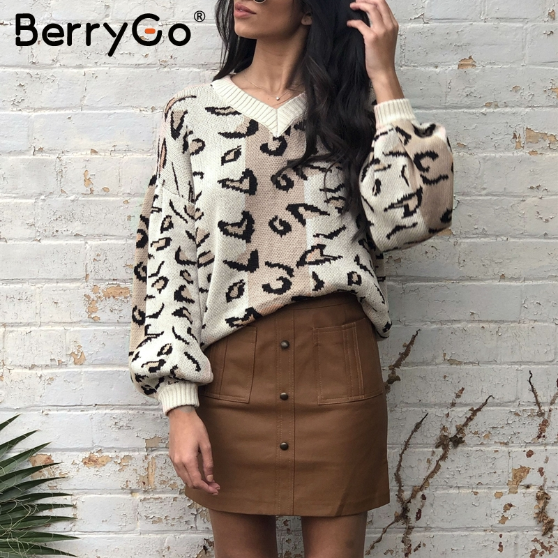BerryGo Leopard Print Knitted Sweater Women Autumn Winter Female Casual Pullover V Neck Lantern Sleeve Streetwear Ladies Jumpers