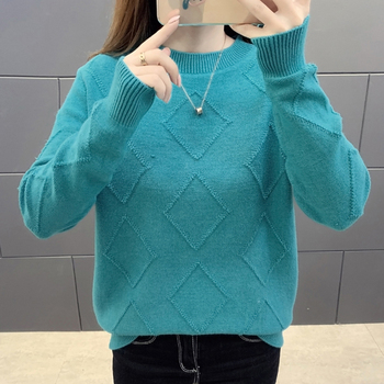 Women Sweater Autumn Winter Clothes Solid Round Neck Rhombus Sweater Jumper Long Sleeve Knitted Pullovers Shirt Female Tops цена 2017