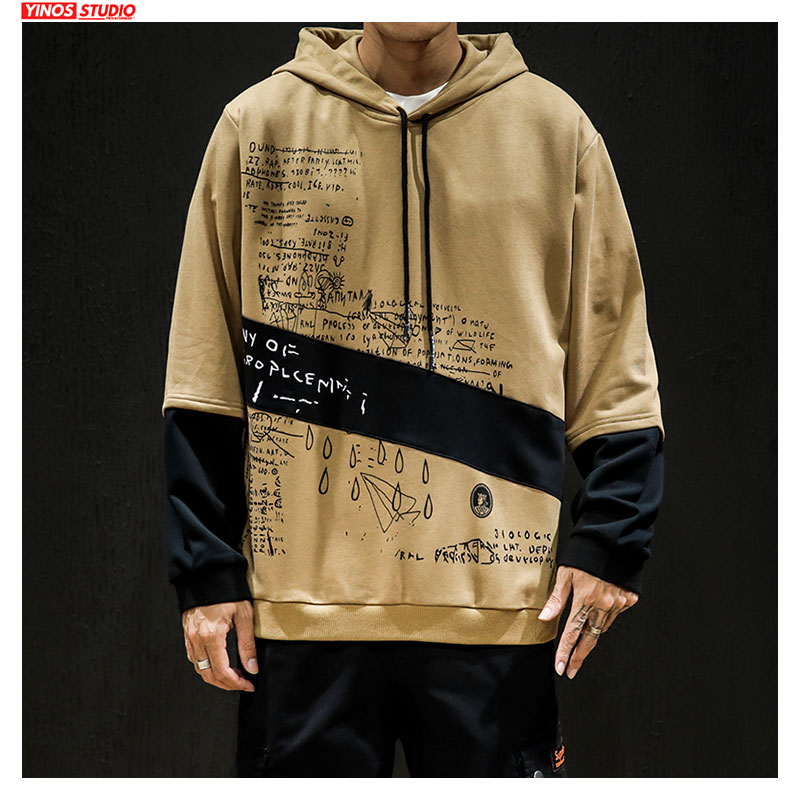 Dropshipping Mens Japanese Hooded Cotton Sweatshirt Streetwear Patchwork Fake Two Pieces Hoodies Tops Casual Male Pullover