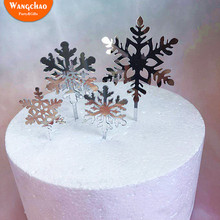 4pcs/set Winter White Glitter Silver Snowflake Acrylic Christmas Cake Decoration Merry Topper Party Supplies