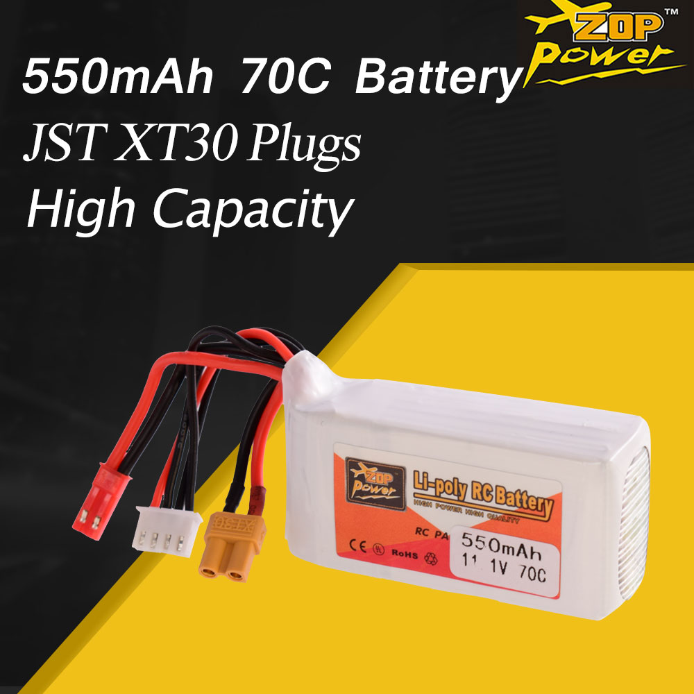 ZOP Power 11.1V <font><b>550mAh</b></font> 70C <font><b>3S</b></font> Lipo Battery JST XT30 Plug Rechargeable For RC Racing Drone Helicopter Quadcopter Car Boat image