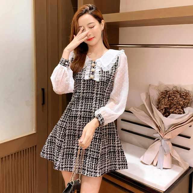 COIGARSAM Women Korean dress Long Sleeve New Patchwork Dresses Black Light Green 1090 3