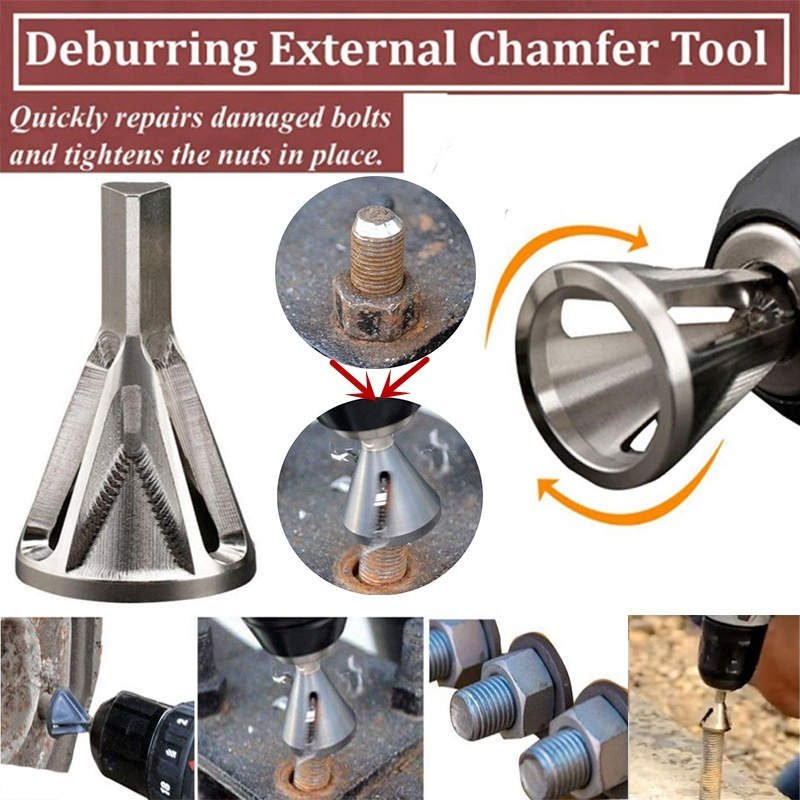 1 Pack Hex Shank HSS Deburring External Chamfer Tool for Drill Bit High Speed Steel Removing Burr Tools for Bolts 12mm-22mm
