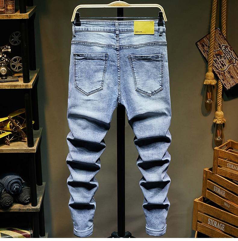KSTUN Ripped Jeans for Men Slim Fit Light Blue Stretchy Fashion Mens Torn Jeans rip Moto Biker Jeans Pants Men Trousers Hip Hop Boys 12