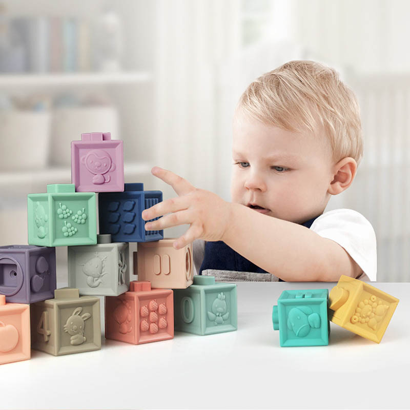 12pcs /Set Baby Grasp Toy Building Blocks 3D Puzzle Touch Hand Soft Balls Baby Massage Rubber Teethers Squeeze Toy Bath Ball Toy