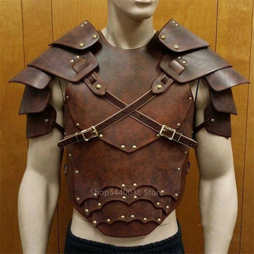 Warrior Knight Armors Men Medieval Multichip Shoulder PU Leather Harness Vintage Arm Viking Pirate Cosplay Costume Halloween