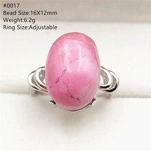 Natürliche Rose Rhodonite Einstellbare Größe Ring Für Frauen Männer Geschenk Luxus 925 Sterling Silber Stein Liebe Seltene RIng AAAAA