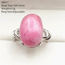 цена на Natural Rose Rhodonite Adjustable Size Ring For Women Men Gift Luxury 925 Sterling Silver Stone Love Rare RIng AAAAA