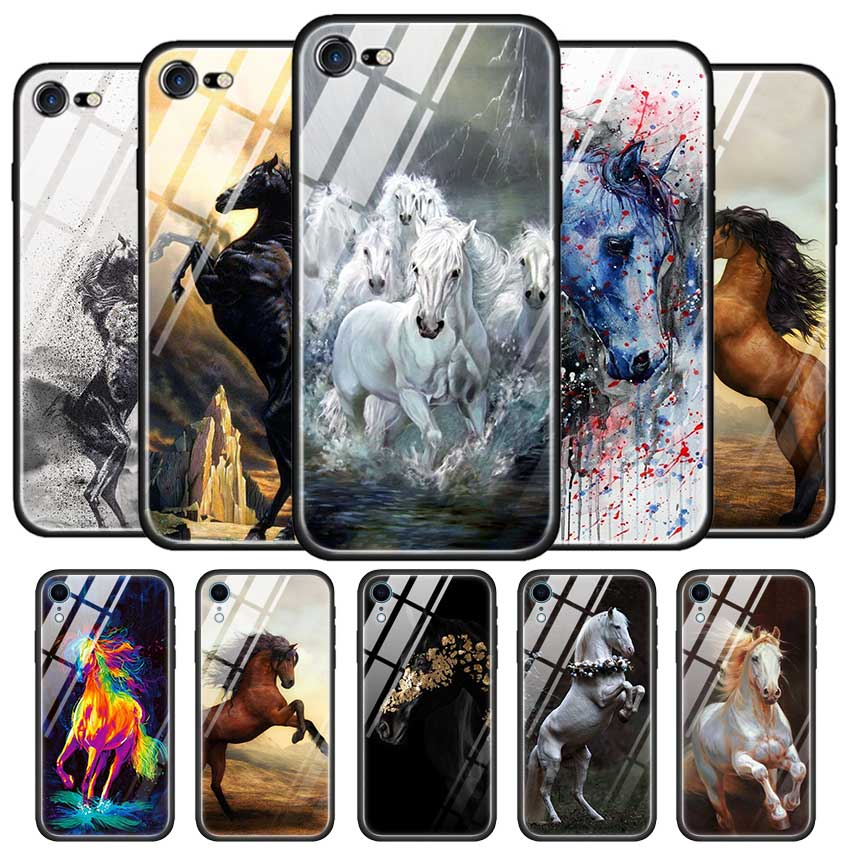 Tempered Glass Case for Apple iPhone 11 11Pro XS MAX XR X Cover for iPhone 8 7 6 6S Plus Shell Watercolor horse Running Horses