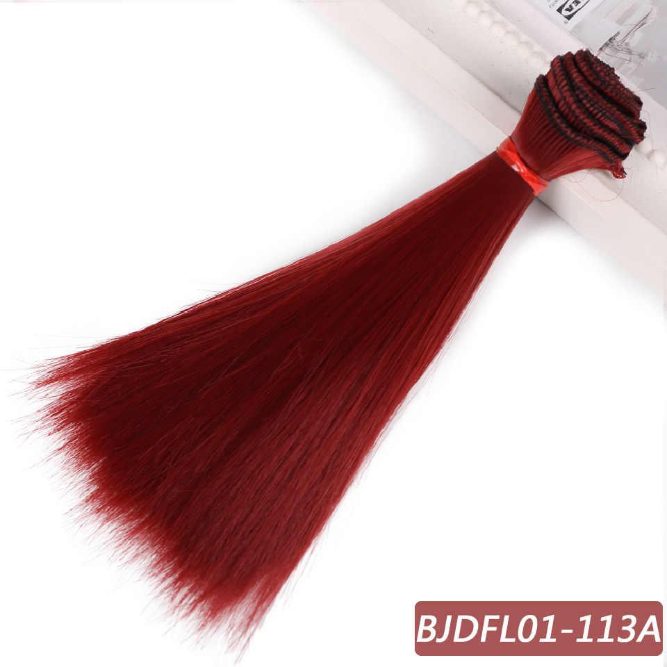 Bybrana 15cm * 100cm en 25cm * 100cm Lange rechte Hoge Temperatuur Fiber BJD SD Pruiken DIY haar voor poppen Gratis verzending