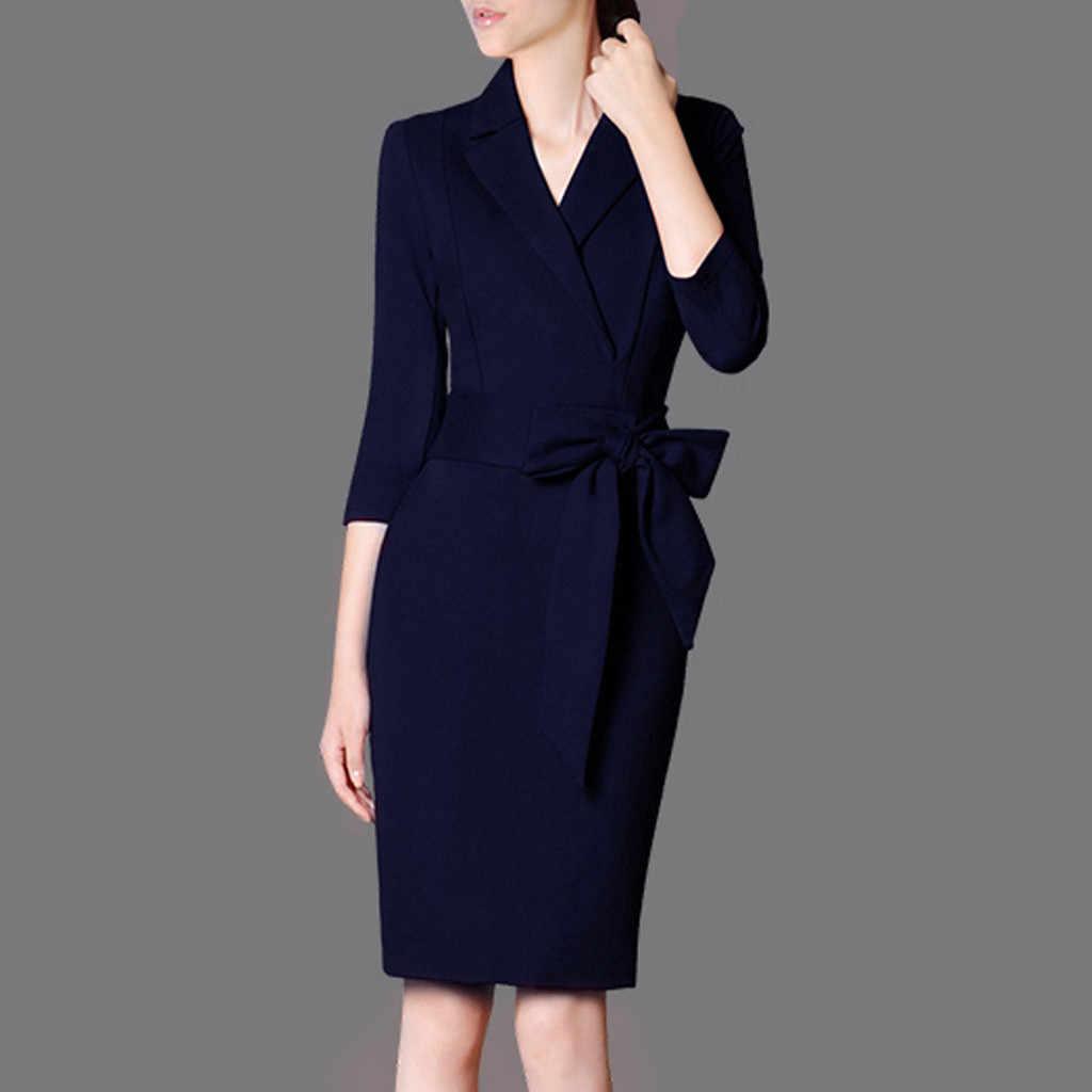 SAGACE Business-kleidung Frauen Kleider Verpackt Hüfte Anzug Kragen 17  Neue Lange Hülse Elegante Kleid Bodycon Arbeit Büro Kleid Damen