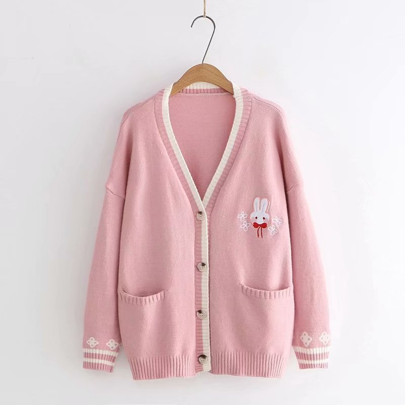 New Autumn Korean Mori Girl Sweet Lolita Cute Bunny Embroidery Knitted Sweater Japanese Women Long Sleeve Cardigan Coat Knitwear