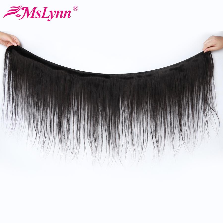 Image 3 - Straight Hair Bundles With Closure Brazilian Hair Weave Bundles With Closure Human Hair Bundles With Closure Mslynn Remy Hair-in 3/4 Bundles with Closure from Hair Extensions & Wigs