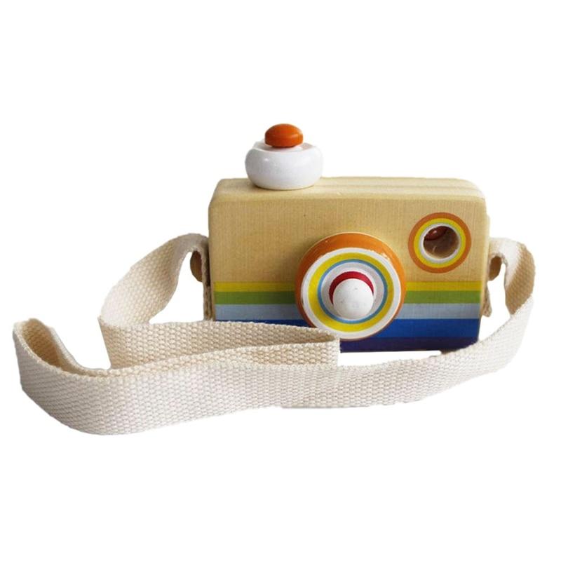 Children'S Camera Wood Camera Creative Kaleidoscope Mini Wooden Camera Toy Color Wooden Camera Portable Camera Child-Lanyard