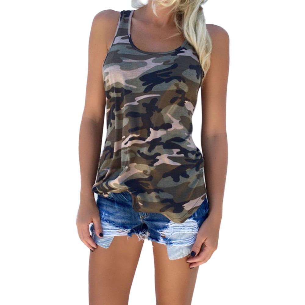 New wokeayer Summer Shirt Women Sexy Backless Camouflage Crochet Halter Crop Tank Tops blusas Fitness Slim Blouse Vest Shirts