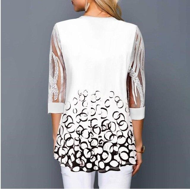 Plus Size 4xl 5XL Shirt Blouse Female 2020 Spring Summer New Tops V-neck Half Sleeve Lace Splice Print Boho Women shirt 2