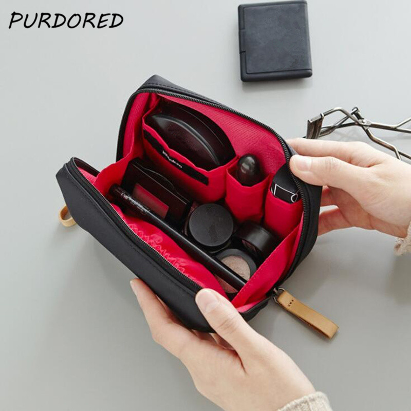 PURDORED 1 Pc Solid Cosmetic Bag Korean Style Women Makeup Bag Pouch Toiletry Bag Waterproof Makeup Organizer Case Necessaire