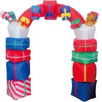 Christmas Gift Arch Inflatable LED Glowing Decoration Party Holiday DIY Props Xmas New Year Lantern Yard Art Decor Supplies