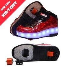 Новинка; подарок для детей; детская обувь на роликовых коньках с двумя колесами для мальчиков и девочек; Светодиодный светящийся свет; обувь для улицы; детские кроссовки