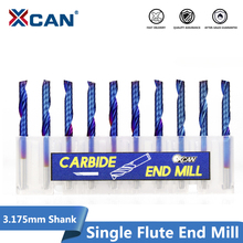 цена на XCAN 10pcs 3.175 Shank Blue Coated Single Flute CNC Router Bit Tungsten Carbide Spiral End Mills Milling Cutter 2/2.5/3.175mm
