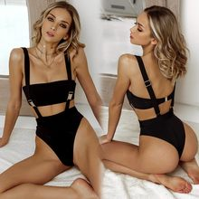 2019 Maillot De Bain Femme Une Piece Sexy Pure Color Waistband One Piece Swimsuit Bathing Suit Swimwear Women Micro Bikini#N13(China)