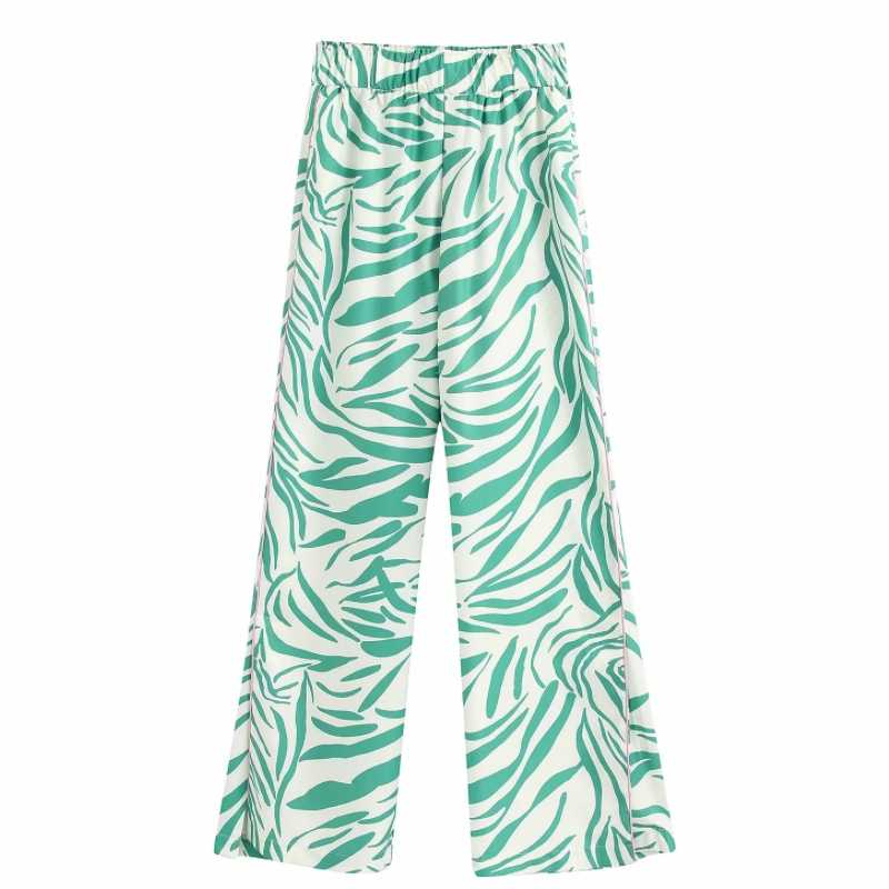 Novedad De 2020 Pantalones Rectos Con Estampado Elastico Y Fresco Para Mujer Pantalones Largos Informales Elegantes A Rayas Laterales Para Mujer Pantalones Y Pantalones Capri Aliexpress