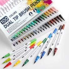 100PCS Farben Dual Tip Pinsel Hand Painted Marker Stifte Kunst Aquarell Fineliner Zeichnung Malerei Schreibwaren für Färbung Manga