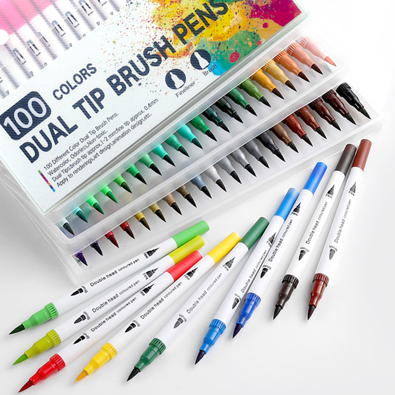 25 Dual Tip Brush Pens Colour Fineliner Pens For Drawing Colouring Books Sketching