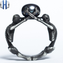 Original Design Handmade Silver Skull Pearl Ring 925 Personalized Index Finger
