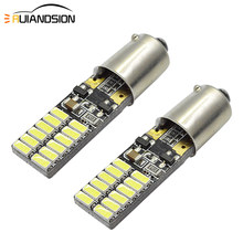2pcs T11 Ba9s T4W Led Canbus Error Free H21W 3014 Car LED Bulbs Interior Lights Auto H6W License Plate Lamp White Yellow AC12V(China)