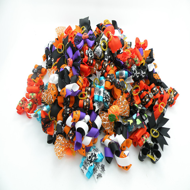 300PC Lot Halloween Dog Bows Holiday Grooming Bows For Dogs Accessories Pet Supplies