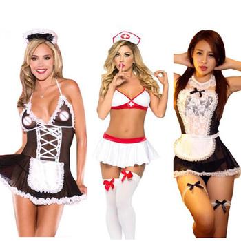 Lenceria Porno ubrania erotyczne Babydoll bielizna Plus rozmiar bielizna Femme Sexy Hot erotyczne pielęgniarka pokojówka sukienka kostiumy langerie M-3XL tanie i dobre opinie spandex Poliester Baby dolls Koronki Egzotyczne odzież baby doll sexy lingerie WOMEN Stałe
