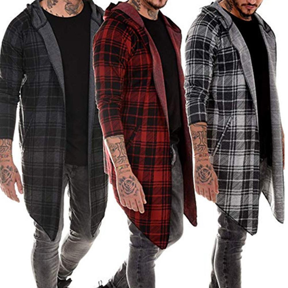 Men's Autumn Winter Sweatshirt Long Sleeve Plaid Hooded Sweatshirt Streetwear Casual Outwear Sudadera Hombre толстовка мужская