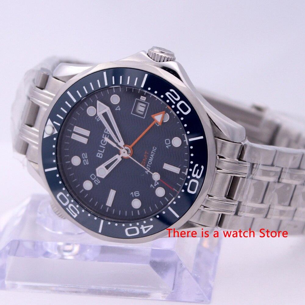 Bliger 41mm Automatic Mechanical Men Watch Sapphire Crystal Stainless Steel Bracelet Luminous Waterproof Calendar GMT Watch Male