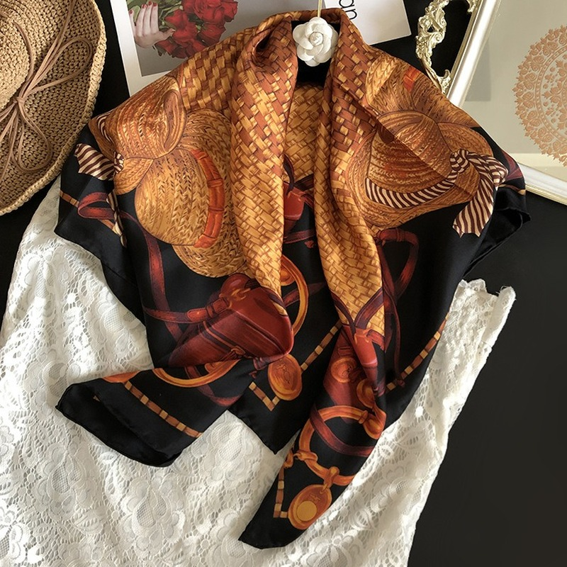 Real 100% Silk Twill Scarf Fashion Lady Headscarf Scarves Shawl Coat Wrap Straw Hat Pattern 90*90cm