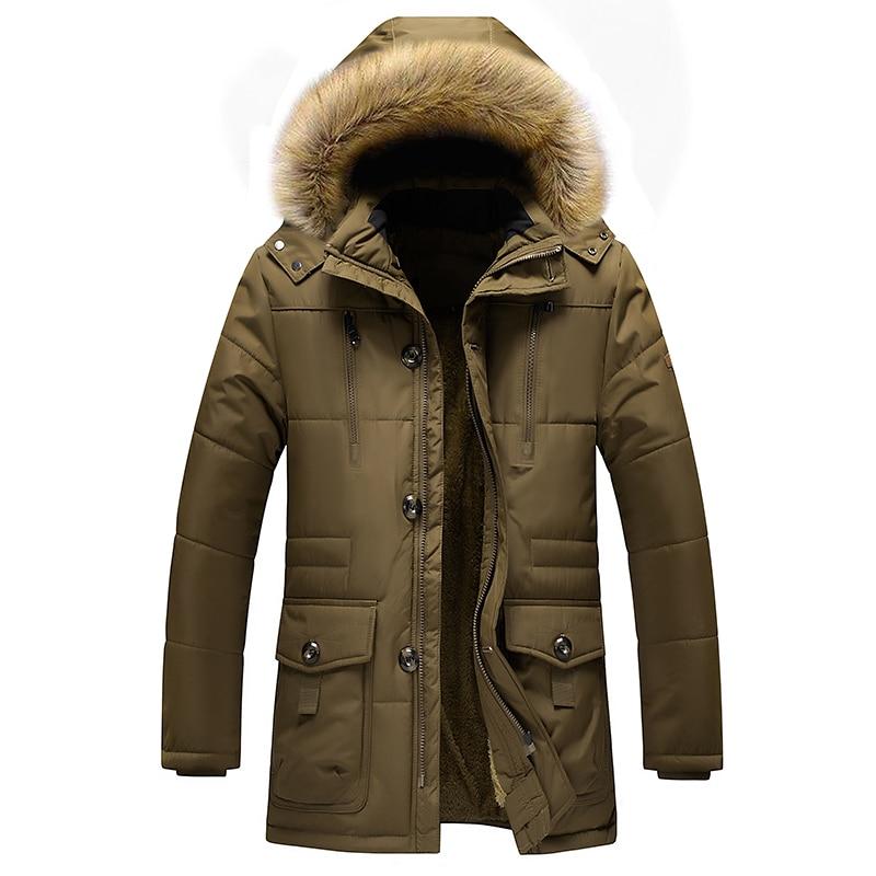 Plus Size 7XL Winter Jacket Men Thick Warm Parkas Wool Liner Hooded Men's Coat Male Outwear Windproof Multi-pocket Jacket ,GA489