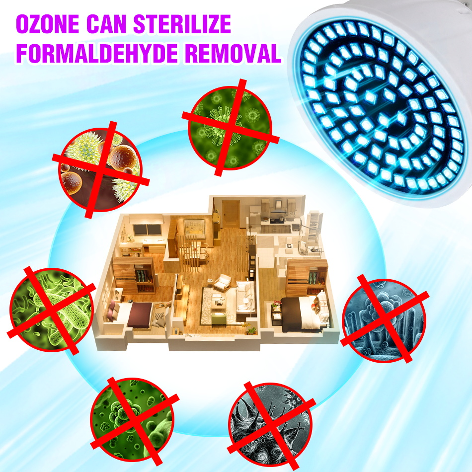 E27 UVC Light Bulb GU10 Sterilizer Lamp MR16 Germicidal UV LED Bulb E14 Desinfection Lamp Ultraviolet LED Light 48 60 80leds B22