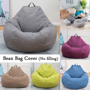 Image 1 - Large Bean Bag Chairs Sofa Covers Solid Color Simple Design Indoor Lazy Lounger for Adults Kids No Filling