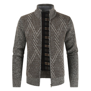 NEGIZBER 2019 Autumn Winter Mens Sweater Casual Stand Collar Thick Cardigan Men Fashion Warm Sweater Coats Men