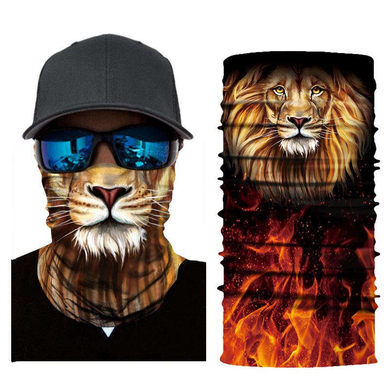 1pc Face Mask 3D Lion Animal Print Balaclava Head Cover Cyclinging Face Mask Head Hair Band Hood Scarf Pirate Hat Wristbands
