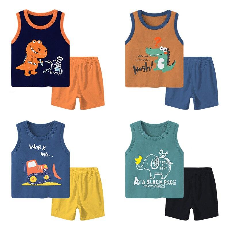 2021 New Kids Vest Set Summer Cotton Baby Boys T Shirt Shorts Set Toddler Girls Sleeveless 2pcs Sleepwear Children Clothing Sets