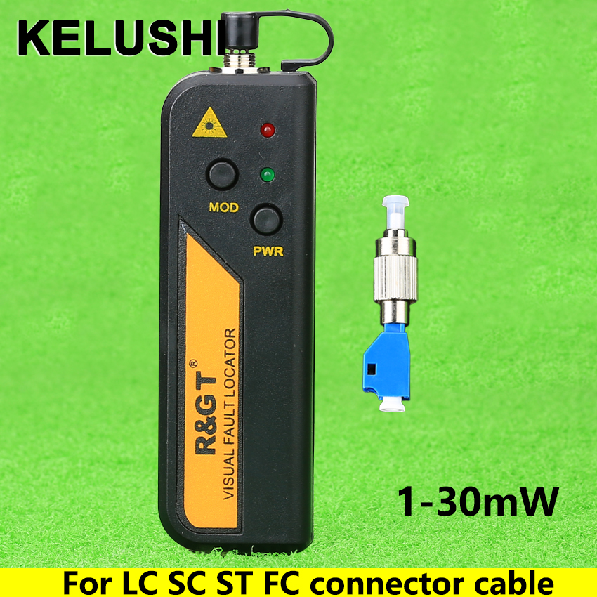 KELUSHI 1-30mW Red Light Source Mini Visual Fault Locator Fiber Optic Cable Tester LC/FC/SC/ST Adapter Fiber Optical Cable CATV