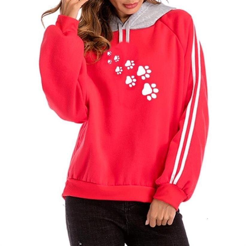Dog Paw Animal Print Hoodies For Women Colorblock Hooded Hoodies Sweatshirt Femmes Sweatshirts Tops Hoody Corduroy Youth